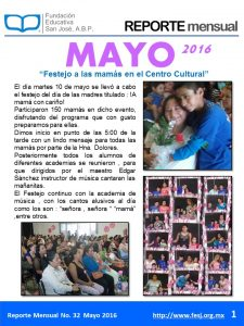 boletín mensual Mayo 2016